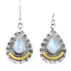 5.62cts victorian natural rainbow moonstone 925 silver two tone earrings p11535