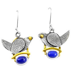 3.32cts victorian natural blue lapis lazuli 925 silver two tone earrings p11542