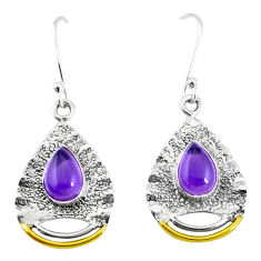 5.42cts victorian natural purple amethyst 925 silver two tone earrings p11566