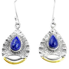 5.30cts victorian natural blue lapis lazuli 925 silver two tone earrings p11570