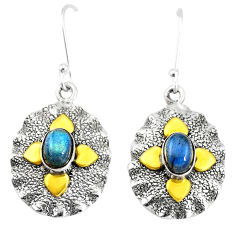3.24cts victorian natural blue labradorite 925 silver two tone earrings p11594