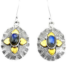 3.24cts victorian natural blue labradorite 925 silver two tone earrings p11598