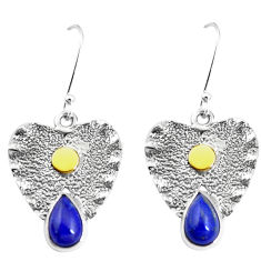 5.62cts victorian natural blue lapis lazuli 925 silver two tone earrings p11602
