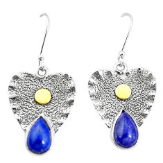 925 silver 5.63cts victorian natural blue lapis lazuli two tone earrings p11604