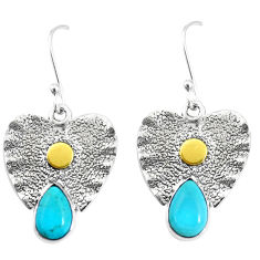 Victorian green arizona mohave turquoise 925 silver two tone earrings p11606
