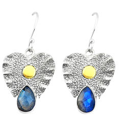 925 silver 5.42cts victorian natural blue labradorite two tone earrings p11617