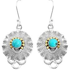 925 silver victorian green arizona mohave turquoise two tone earrings p11629