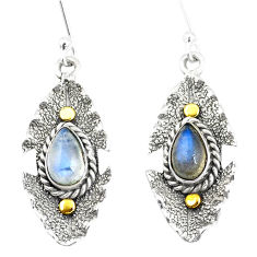 4.31cts victorian natural rainbow moonstone 925 silver two tone earrings p11675