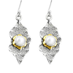 1.96cts victorian natural white pearl 925 silver two tone dangle earrings p11693
