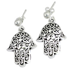 6.45gms indonesian bali style solid 925 silver hand of god hamsa earrings p1199