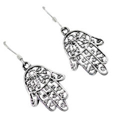 4.62gms indonesian bali style solid 925 silver hand of god hamsa earrings p1211