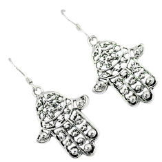 6.19gms indonesian bali style solid 925 silver hand of god hamsa earrings p1214