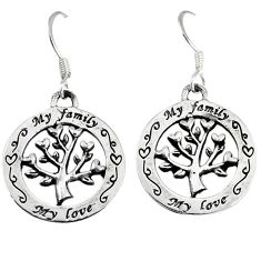3.81gms indonesian bali style solid 925 silver tree of life earrings p1221