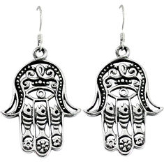 7.43gms indonesian bali style solid 925 silver hand of god hamsa earrings p1228