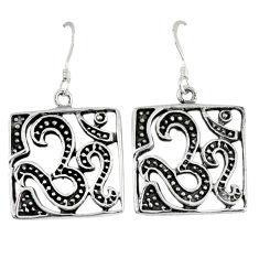 5.62gms indonesian bali style solid 925 sterling silver dangle om earrings p1236