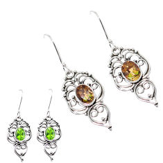4.19cts green alexandrite (lab) 925 sterling silver dangle earrings p12405