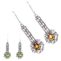 4.48cts green alexandrite (lab) 925 sterling silver dangle earrings p12406