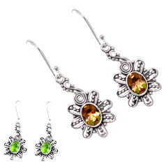4.21cts green alexandrite (lab) 925 sterling silver dangle earrings p12414