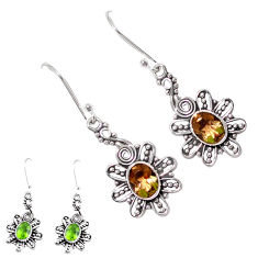 4.38cts green alexandrite (lab) 925 sterling silver dangle earrings p12417