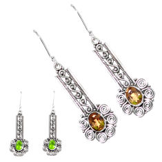 4.35cts green alexandrite (lab) 925 sterling silver dangle earrings p12422