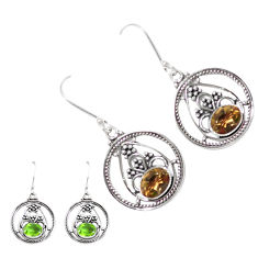 3.56cts green alexandrite (lab) 925 sterling silver dangle earrings p12428
