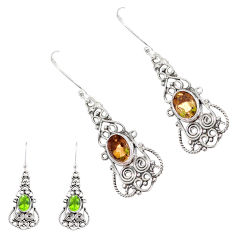 4.38cts green alexandrite (lab) 925 sterling silver dangle earrings p12431