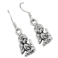 Praying bali java island 925 silver dangle baby angel prayer earrings p1250