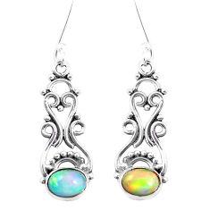 4.22cts natural multi color ethiopian opal 925 silver dangle earrings p12567