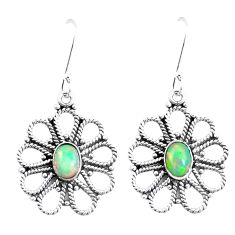 925 silver 4.70cts natural multi color ethiopian opal dangle earrings p12570