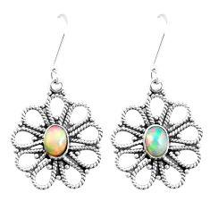 925 silver 3.91cts natural multi color ethiopian opal dangle earrings p12577
