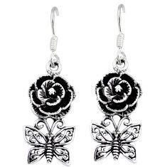 Indonesian bali java island 925 silver butterfly with flower earrings p1261