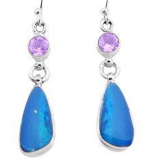 10.23cts natural blue doublet opal australian amethyst silver earrings p12721