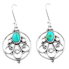 3.28cts green arizona mohave turquoise 925 silver dangle earrings p13185