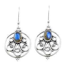 3.25cts natural blue labradorite 925 sterling silver dangle earrings p13199