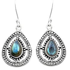 5.12cts green arizona mohave turquoise 925 silver dangle earrings jewelry p13205