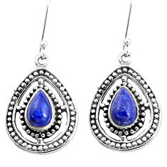 925 sterling silver 4.93cts natural blue lapis lazuli dangle earrings p13209
