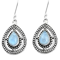 5.42cts natural rainbow moonstone 925 sterling silver dangle earrings p13210