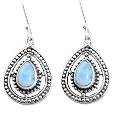 4.22cts natural rainbow moonstone 925 sterling silver dangle earrings p13211