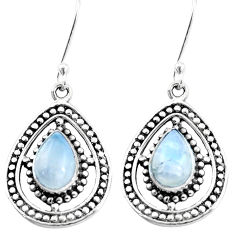 4.52cts natural rainbow moonstone 925 sterling silver dangle earrings p13213
