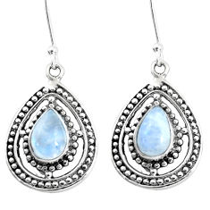 5.28cts natural rainbow moonstone 925 sterling silver dangle earrings p13214