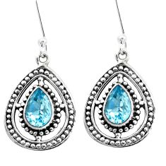 4.93cts natural blue topaz 925 sterling silver dangle earrings jewelry p13219
