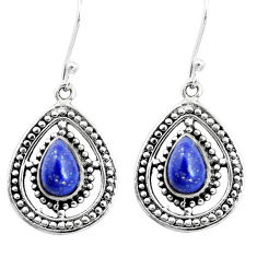 925 sterling silver 4.93cts natural blue lapis lazuli dangle earrings p13220