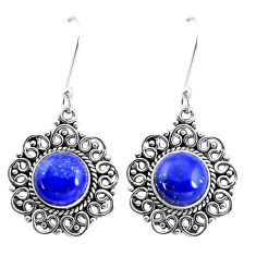 10.06cts natural blue lapis lazuli 925 sterling silver dangle earrings p13222
