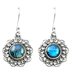 9.07cts natural blue labradorite 925 sterling silver dangle earrings p13224