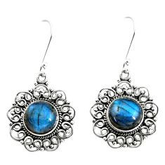 9.63cts natural blue labradorite 925 sterling silver dangle earrings p13225