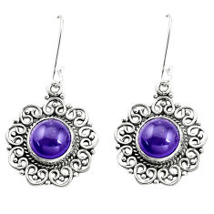 925 sterling silver 9.65cts natural purple amethyst dangle earrings p13230