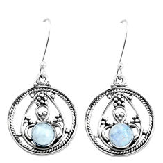 925 sterling silver 3.29cts natural rainbow moonstone dangle earrings p13244