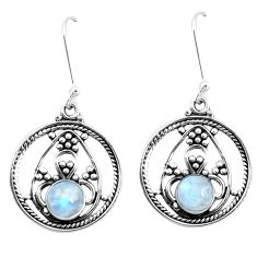 3.01cts natural rainbow moonstone 925 sterling silver dangle earrings p13246