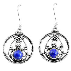 3.16cts natural blue lapis lazuli 925 sterling silver dangle earrings p13255