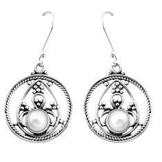 9.03cts natural white pearl 925 sterling silver dangle earrings jewelry p13259